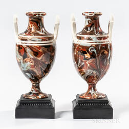 Pair of Wedgwood & Bentley Variegated Agate Cassolettes