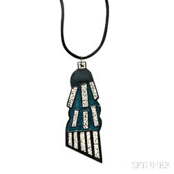 Art Deco Lacquer and Eggshell Pendant, Attributed to Jean Dunand