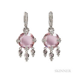 18kt White Gold, Pink Stone, and Diamond Earrings