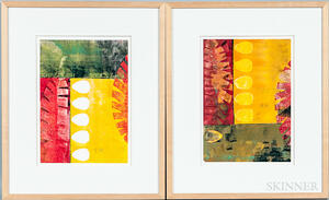 Two Framed Ronna Katz (American, 20th/21st Century) Abstract Monotypes