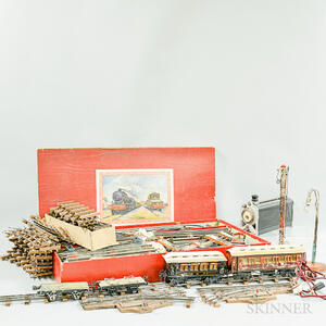 Large Group of French L.R. and German Toy Trains with Accessories and Track.