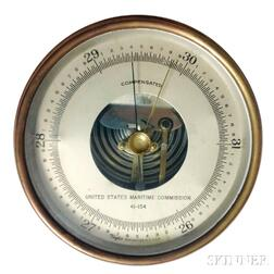United States Maritime Commission Bronze-cased Aneroid Wall Barometer