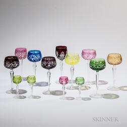 Twenty-nine Pieces of Colored Glass Stemware