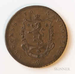 "1793 Manchester ""Success to Navigation"" Halfpenny Conder Token, DH-135"
