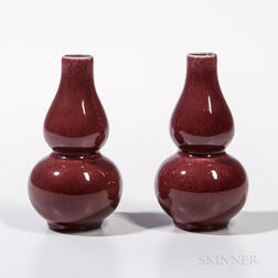 Pair of Small Flambe-glazed Vases