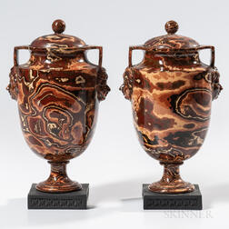 Pair of Wedgwood & Bentley Agate Vases and Covers