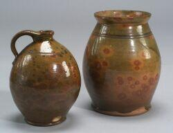 Redware Handled Jar and Jug