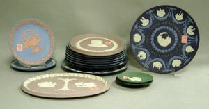 Fifteen Assorted Wedgwood Solid Jasper Dishes and Trays.