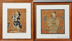 Two Framed Embroidered Silk Fragments