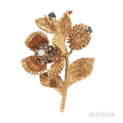18kt Gold, Sapphire, and Diamond Chestnut Brooch, Tiffany & Co.