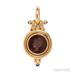18kt Gold, Hardstone Intaglio, and Sapphire Pendant
