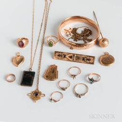 Group of Low-karat Gold and Gold-filled Jewelry
