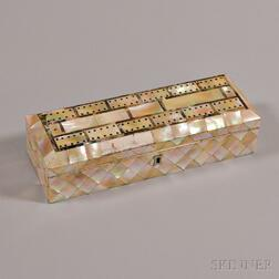 Mother-of-pearl-inlaid Cribbage Board/Box