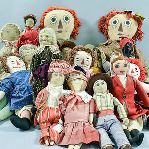 Large Group of Cloth Dolls.