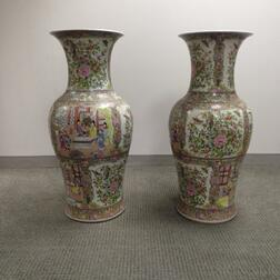 Pair of Famille Rose Floor Vases