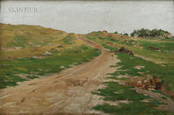 William Merritt Chase (American, 1849-1916)      Landscape with Winding Uphill Road