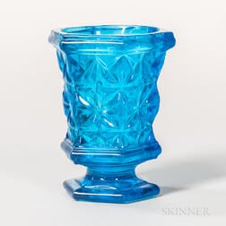 Sapphire Blue Pressed Glass Spoon Holder