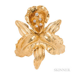 18kt Gold and Diamond Orchid Brooch