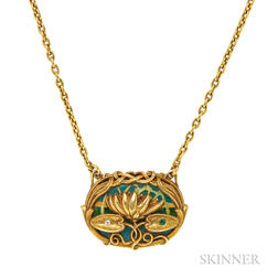 Art Nouveau 14kt Gold and Plique-a-jour Pendant Necklace, Riker Bros.