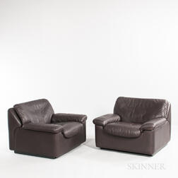 Two DeSede Leather Lounge Chairs
