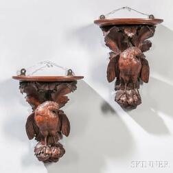 Pair of Victorian Carved Bird Wall Brackets