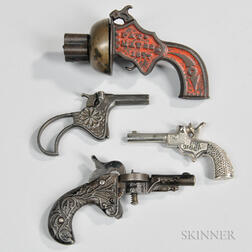 Four Small Cast Metal Toy Cap Guns