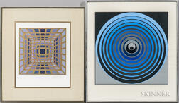 Victor Vasarely (Hungarian/French, 1908-1997)      Two Prints: Untitled (Blue Circles)