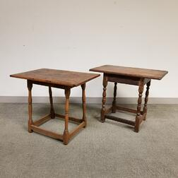 Two Country Turned Maple and Pine Tavern Tables