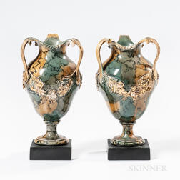 Pair of Wedgwood & Bentley Variegated Three-handled Vases
