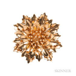 14kt Gold Chrysanthemum Brooch, Tiffany & Co.