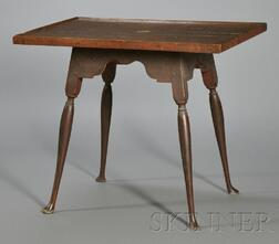 Queen Anne Maple Red-painted Tray-top Splay-leg Tea Table