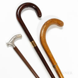 Three Gentleman's Walking Sticks or Canes