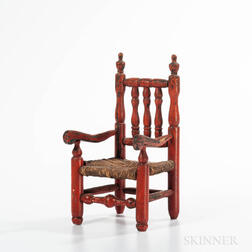 Red-painted Miniature Bannister-back Great Chair