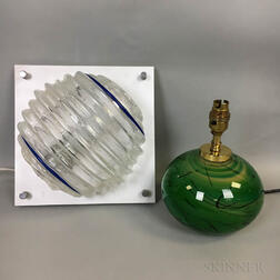 Anthony Stern Studio Glass Table Lamp and a Glass Wall Sconce