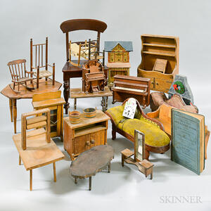 Large Group of Dollhouse Furniture and Accessories
