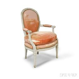 Louis XVI-style White-painted and Carved Fauteuil