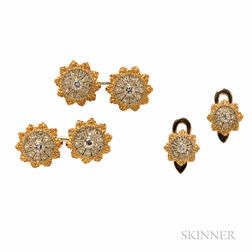 18kt Bicolor Gold and Diamond Dress Set, Buccellati