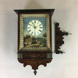 German Grained and Reverse-painted Wag-on-the-Wall Clock