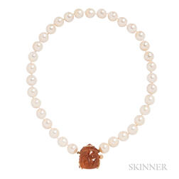Cultured Pearl and Amber Necklace, Seaman Schepps