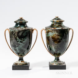 Pair of Wedgwood & Bentley Marbleized Vases and Covers