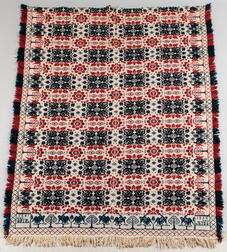 Red, White, and Blue Wool Woven Coverlet