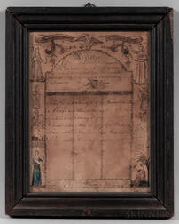 Engraved, Watercolor, and Manuscript John and Deborah Newell Family Register