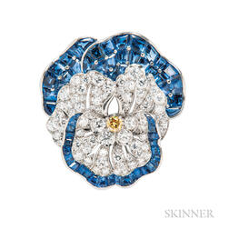 Platinum, Sapphire, Colored Diamond, and Diamond Pansy Brooch, Attributed to Oscar Heyman, Retailed by Udall & Ballou
