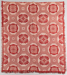 Red and White Woven Wool Coverlet