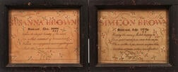 Framed Watercolor and Pen & Ink Birth Records for Simeon and Susanna Brown