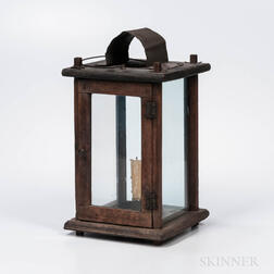 Walnut and Tin Barn Lantern