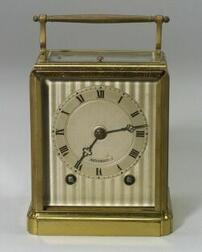 French Engraved Bronze Repeating Alarm Carriage Clock