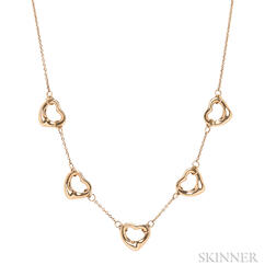 18kt Gold Open Hearts Necklace, Elsa Peretti, Tiffany & Co.