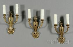 Set of Three Whimsical Louis XIV Style Bronze Two-Light Wall Sconces
