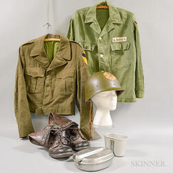 WWII Uniform, Hat, Canteen, and a Pair of Boots.     Estimate $150-250